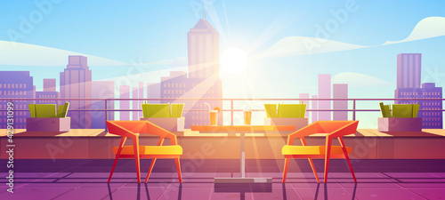 Obraz Restaurant on terrace on rooftop with city view. Empty patio on roof or balcony with cafe furniture, table, chairs and plants at sunny day. Vector cartoon illustration of house terrace in town - fototapety do salonu