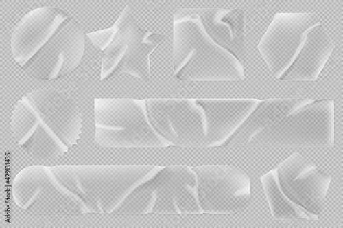 Obraz Transparent stickers or patches mockup. Plastic or pvc shrunken labels of different shapes round, square, star, pentahedron and hexahedron or notched circle wrinkled emblems, Realistic 3d vector set - fototapety do salonu