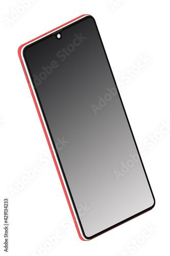 Telefon komórkowy smartfon z czarnym odblaskowym wyświetlaczem widok 3D pod kątem na białym tle. - fototapety na wymiar
