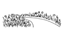 Simple Hand-drawn Vector Drawing In Black Outline. Path, Flowers On The Roadside. Blooming Lawn. Country Landscape. Ink Sketch. Suburban Walk. Summer Nature.