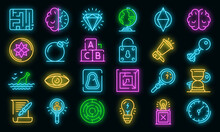 Quest Icons Set. Outline Set Of Quest Vector Icons Neon Color On White