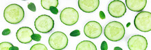 Fresh Summer Food And Drink Panorama With Cucumber Slices And Mint