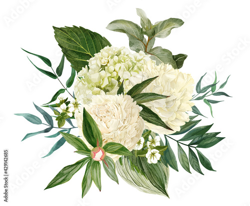 Fotografiet Lush bouquet composed of white flowers and greenery