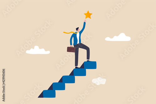 Hope to success in business, accomplishment or reaching business goal, reward and motivation concept, smart confident businessman climb up stair to the top to reaching to grab precious star reward.