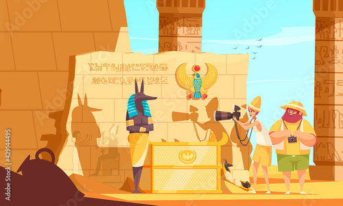 Leinwand Poster Egypt Travel Cartoon Composition With Burial Chamber Visitors Making Death God S