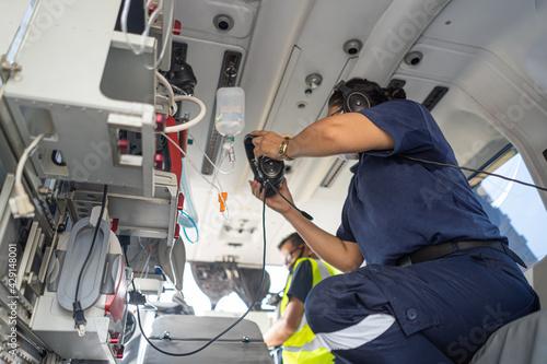 A medical device installed inside a medical helicopter Fotobehang