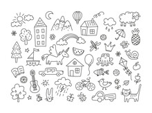 A Set Of Children Drawings. Kid Doodle. Sun In The Clouds, Summer Flowers And Trees, Painted Houses, Cute Cat And Other Black White Elements. Vector Illustration On White Background. Editable Stroke