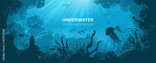 Fototapeta Silhouette of coral reef with fish and scuba diver on a blue sea background. Underwater marine wildlife. Nature vector illustration. obraz