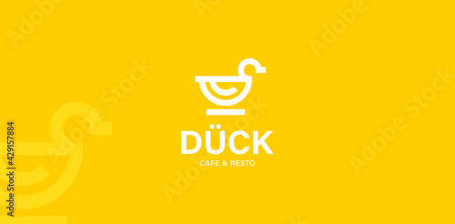 Valokuvatapetti duck logo vector modern icon line outline monoline illustration