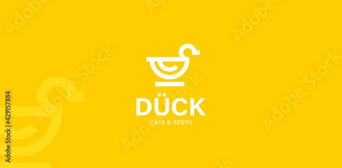 Obraz na plátně duck logo vector modern icon line outline monoline illustration