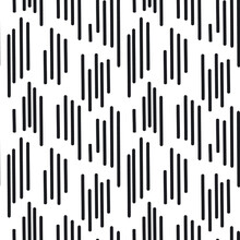 Black And White Seamless Pattern With Stripy Doodles Shapes, Endless Repeatable Texture