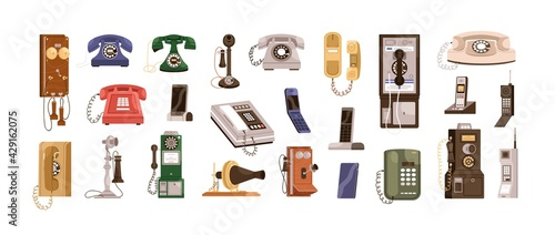 Obraz Vintage telephones and modern mobile phones set. Old antique analog devices for communication. Desktop rotary, radiophone and cellphone. Colored flat vector illustration isolated on white background - fototapety do salonu