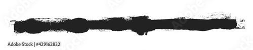 Fotografie, Obraz Pinselstreifen mit schwarzer Farbe als Hintergrund