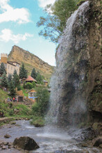 Malokarachayevsky District, Karachay-Cherkess Republic, Russia, 08.13.2018. Honey Waterfalls Are Located In The Valley Of The Alikonovka And Ekchi-Bash Rivers.