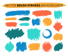 Hand Drawn Vector Brush Strokes Backgrounds. Color Paint Spots, Ink Brush Stroke Set. Grunge Artistic Paint Blobs Highlights. Abstract Splashes, Circle And Stains Shapes, Creative Design Elements