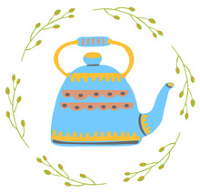 Blue Vintage Tea Pot Decorated With Herbal Wreath Isolated Vector Illustration