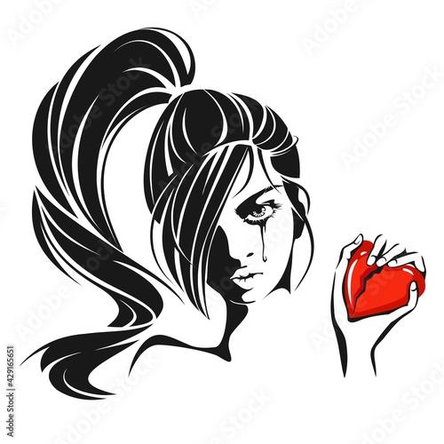 Girl crying over a broken heart Fotobehang