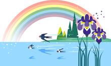 雨上がりの虹と菖蒲の風景