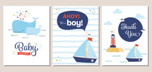 Set Of Nautical Theme Baby Shower Invitation And Thank You Cards. Summery Boy Baby Shower Invitation Templates With Cartoon Whales, Sailboat, Lighthouse, And Seagull.