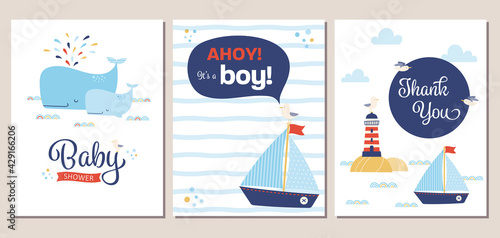 Set of nautical theme baby shower invitation and thank you cards. Summery boy baby shower invitation templates with cartoon whales, sailboat, lighthouse, and seagull. - fototapety na wymiar