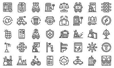 Accessible environment icons set. Outline set of Accessible environment vector icons for web design isolated on white background