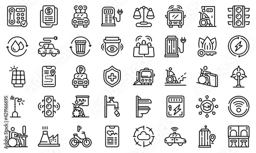 Accessible environment icons set. Outline set of Accessible environment vector icons for web design isolated on white background - fototapety na wymiar