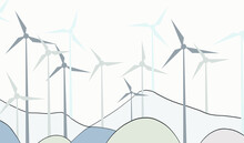 Illustration Of Alternative Energy Resource With Rotation Windmills, Wind Turbines, Field, Mountains, Trees, Forest And Sky. Summer Landscape And Windmill Elements As Symbol Of Ecological Power