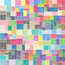 Colorful Square And Rectangle Shape Drawings With Lines In A Row As Mosaic Tiles. Vector Illustration.