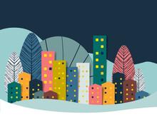 Landscape, Winter Town, City, Nature Panorama. Paper Cut Illlustration.