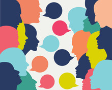 People Profile Heads In Dialogue.  Vector Background.