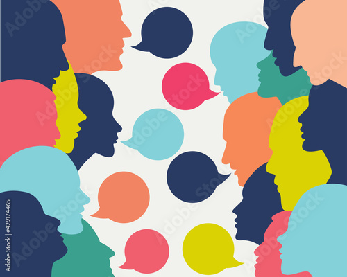 Photo People profile heads in dialogue.  Vector background.