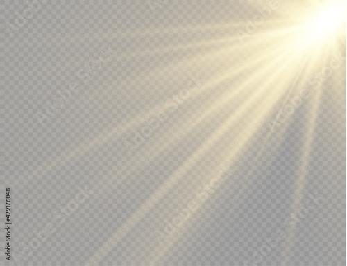 Slika na platnu Sunlight with bright explosion, flare sun rays.
