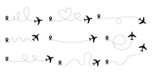 Airplane Line Path Collection.Airplane Track To Point.Airplane Path In Dotted Line Shape. Plane Way Icon Set. Travel And Adventure Concept. Adventure Tourism. Travel Line Vector Icons.Location.