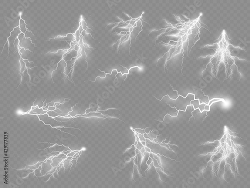 Set of zippers, thunderstorm and effect lightning. - fototapety na wymiar