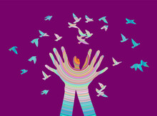 Hands With Bird In Color Illustration Suitable For Web Design And Printing, And As Print On T-shirt