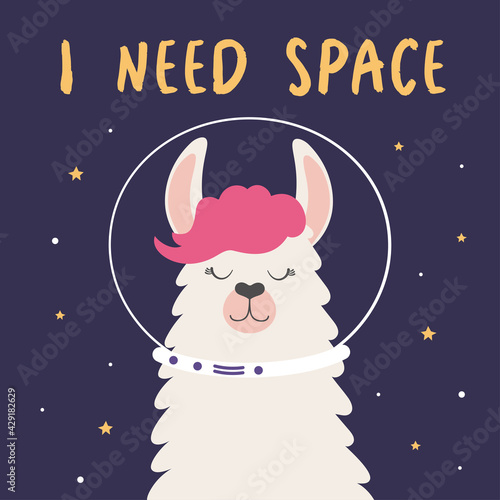 Fototapeta premium vector illustration with cute llama in space
