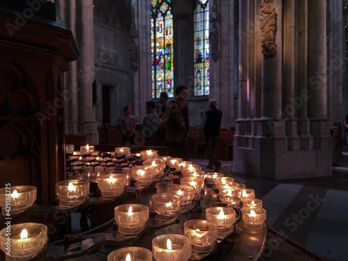 Fotografie, Obraz Clean minimalist Gothic interior style architecture inside Roman Catholic church
