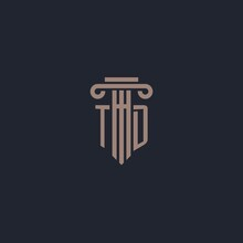 TD Initial Logo Monogram With Pillar Style Design For Law Firm And Justice Company