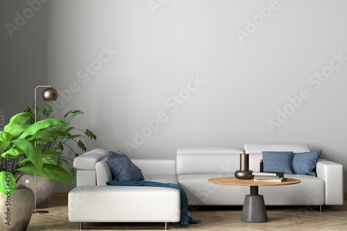 Obraz Blank white wall of modern living room mock up. - fototapety do salonu