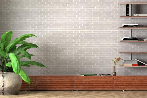 Obraz Blank white wall of loft style living room mock up. - fototapety do salonu