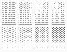 Wavy Curvy And Zigzag Horizontal Lines. Vector Set For Graphic Elements.