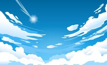 Anime Sky. Cloud In Blue Heaven In Sunny Summer Day, Cloudy Beautiful Nature Morning Scene With Falling Star Vector Wallpaper, Background. Bright Cloudscape With Cumulus And Shining
