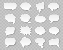 Paper Speech Bubbles. Comic Thought White Blank Balloons With Shadow. Thinking Cloud For Expression In Various Shapes Vector Set. Shapes For Communication , Dialogue Elements For Message