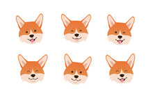 Welsh Corgi Face Expressions. Set Of Cute Cartoon Smiling Dog Heads On White Background. - Vector Illustration