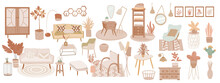 Collection Of Interiors With Stylish Comfy Furniture And Home Decorations, Armchair, Home Plants. Boho And Hygge Decoration For Interiors In Isolated Background. Set Of Vector Objects In Muted Color