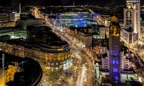 Berlin Kürfürstendamm an Weihnachten - fototapety na wymiar