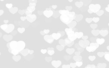 Valentine Day White Hearts On Gray Background.