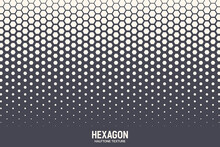 Hexagonal Halftone Texture Vector Geometric Technology Abstract Background. Half Tone Hexagon Retro Colored Pattern. Minimal 80s Style Dynamic Tech Structure Wallpaper