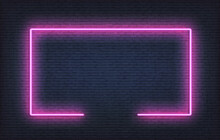 Neon Frame Sign. Realistic Purple Signboard Glowing Design Template