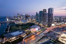 Aerial Twilight Downtown Miami Cityscape